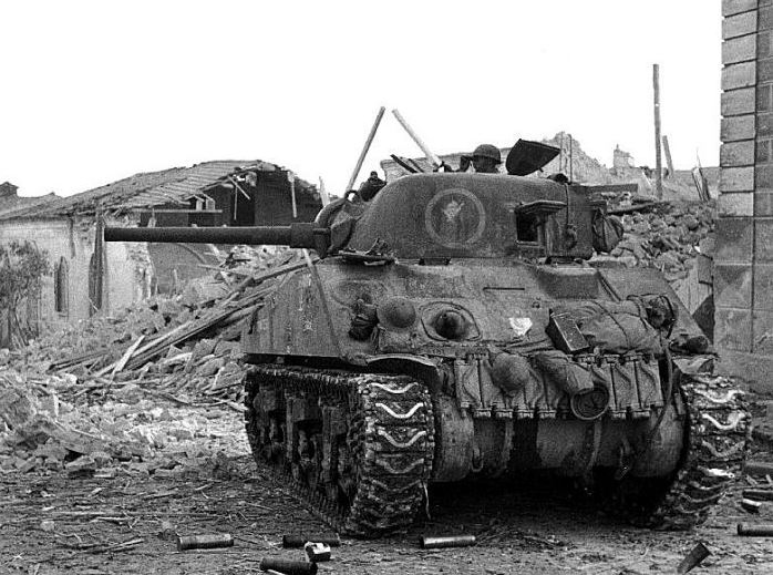Canadian Sherman at Ortona
